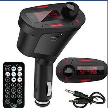 Wireless Car MP3 FM Transmitter Modulator USB SD MMC LCD Display+Remote 3 Colors Red