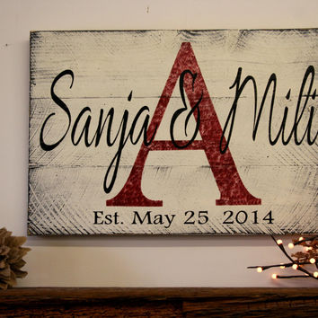 Custom Name Sign Personalized Name Sign Family Name Sign Wedding Gift Bridal Shower Gift Housewarming Gift Pallet Wood Sign Distressed Wood