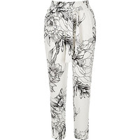 White floral print tie waist trousers