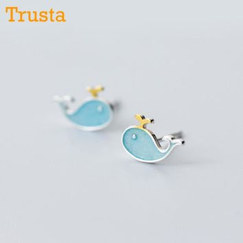 100% 925 Sterling Silver Women's Fashion Blue Symmetry 9mmX6mm Whale Stud Earrings Gift For Girls Daughter's Gift DS234