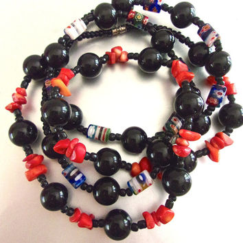 Two 2 Black Onyx Necklaces, Coral Nuggets & Lampwork Beads, Vintage