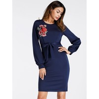 Navy Round Neck Long Sleeve Sheath Dress
