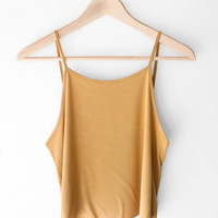 Basic Cropped Cami - Mustard