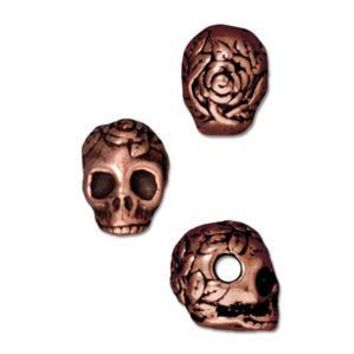 94-5715-18 - TierraCast Large Hole Pewter Skull Bead, Antique Copper | Pkg 2