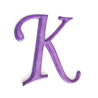Decorative Letter K hand painted wood in radiant orchid with shades of purple distressed finish, rustic shabby cottage chic style