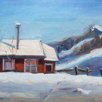 Winter Cabin 11x14 FINE ART original oil painting by brandycattoor