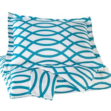 Leander Queen Duvet Cover Set  - Turquoise