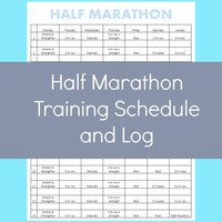 Half Marathon Training Schedule, Half Marathon, Training Log, Workout Log, Fitness Log
