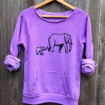 Long Sleeve Elephant Pattern Sweatshirt