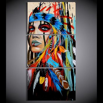 HD printed 3 piece canvas art native American Indian with feather Painting
