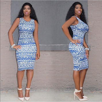 Blue Geometric Print Body-con Dress