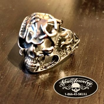'Magic Carpet Ride' Decorated Stainless Skull Ring - (4022)
