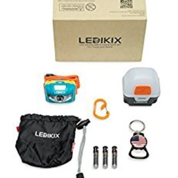 Best Quality Ledikix LED Headlamp Flashlight Kit with Adjustable Strap, Lantern Box, S-Hook, Key Chain Bottle Opener and Small Black Carry Bag: Compact, Multi-use and Weatherproof with 3 AAA Batteries
