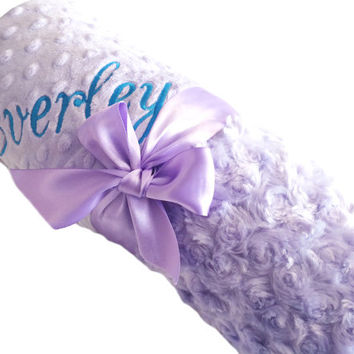 Personalized Baby Blanket Lavendre Swirl Minky Baby Blanket with Lavender Dot Minky Back over 35 fonts to choose fro