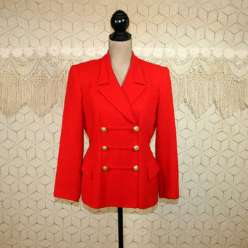 80s Red Wool Jacket Petite Medium Womens Jackets Double Breasted Suit Jacket Red Jacket Red Blazer Fitted Womens Blazers Vintage Clothing