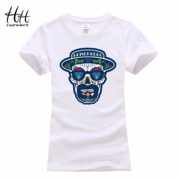 HanHent Women's Fashion T-shirts Breaking Bad Heisenberg T Shirts 3D Skull Tee shirts Rock Clothing Lovers T-shirts For Couples
