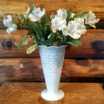 Vintage Large Milk Glass Hobnail Vase, Large White Vase