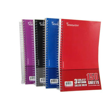 """wired notebook - 3 subject - 150 sh - 9.5"""" x 6"""" Case of 24"""