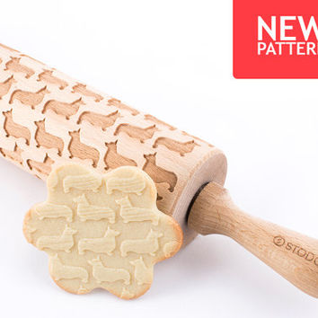 Welsh Corgi - Embossed, engraved rolling pin for cookies