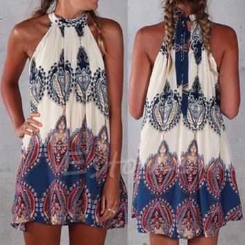 S-2XL Sexy Women Boho Summer Beach Short Mini Dress Sleeveless Party Cocktail Hot