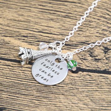 "ON SALE - ""Only The Fearless Can Be Great"" Stamped Sentiment Necklace"