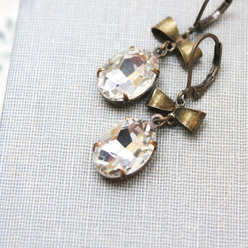 Rhinestone Earrings Vintage White Clear Crystal Glass Drop Earrings Jewellery Rustic Antique Brass Bow Bridal Old Hollywood Glam Leverback