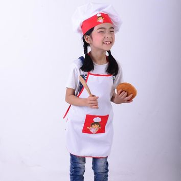 Kids Cooking Costumes Children Apron + Chef Hat Set Baby Chef Costume For Craft Art Cooking Baking DIY Painting SYT9351