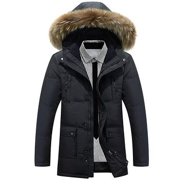 X-Long Mens Winter Jackets and coats Thicker Warm Winter Duck Down Jacket for Men Faux Fur Hat Hooded Parkas Coat Plus Size 4XL
