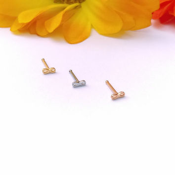 Infinity Gold Rose Gold or Steel Nose stud 20g body jewelry