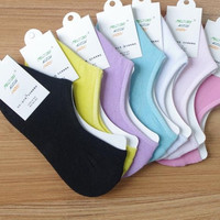 5 piece /Cotton invisible socks cotton summer light mouth thinner socks non-slip silicone candy color doug shoes socks (Size: One Size, Color: Multicolor) = 1958622724
