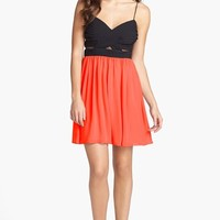 Hailey Logan Mesh Inset Chiffon Skater Dress (Juniors) (Online Onl