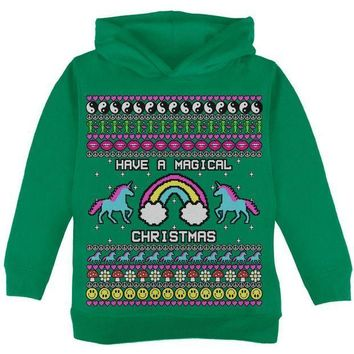 PEAPGQ9 Retro 90s Rainbow Unicorn Magical Ugly Christmas Sweater Toddler Hoodie