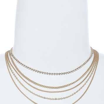 Gold Crystal Lined Chain Drape Choker Necklace