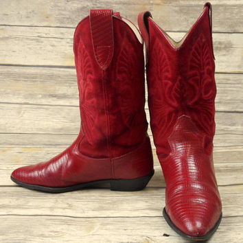 Red Cowboy Boots Womens Size 8.5 Lizard Cowgirl Western Distressed Boho Gypsy