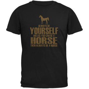 LMFCY8 Always Be Yourself Horse Black Youth T-Shirt