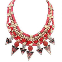 Red Triangle Shape Pendant Necklace