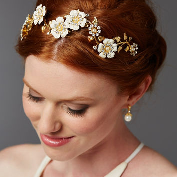 Designer Hand-Enameled Blossom Bridal Headband in Gold