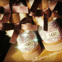 Blinged Out Chestnut Bailey Bow Uggs w/ Swarovski Crystals- Chestnut Uggs with Crystal Bling