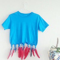 Festival Feather Box Style Crop Top~ Coachella Bohemian Top- 1990's Short Top~ Blue & Red Feathers Tee- 90's Clothing~ Gypsy Mermaid Goddess
