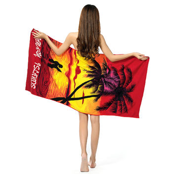 150*70 Large Absorbent Microfiber Drying Bath Beach Towel Washcloth Swimwear Shower Dream Lover/100 Dollor Printed