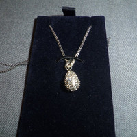 "Swarovski Pendant and Chain, Heloise Teardrop Pave Set, Chain approx. 15.5"" long NEW in Box, Mother's Day"