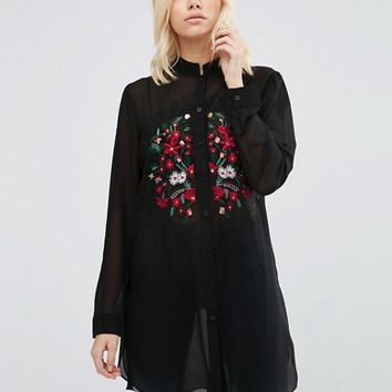 Brave Soul Longline Shirt With Embroidered Detail at asos.com