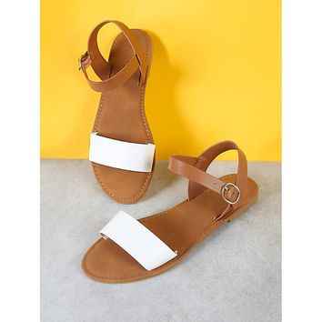 White Sling Back Ankle Strap Single Band Flat Sandal Natural