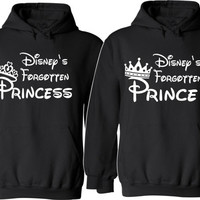 Disneys Forgotten Prince and Princess Couple Hoodies For Her For Him Unisex Sizes,So Cozy Comfy Perfect Valentine's Day Gifts