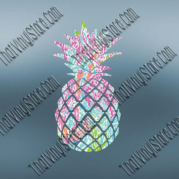 Preppy Pineapple Decal | Fruit Vinyl Decal | Pineapple Girl Decal | Peppy Yeti Pineapple | iPhone MacBook RTIC Ozark Decal | 571