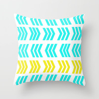 Sunshine Pop and Aqua Zig Zag Throw Pillow by Lisa Argyropoulos | Society6