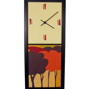Modern Wall Clock Trees Mid century by coolstuffartgallery on Etsy
