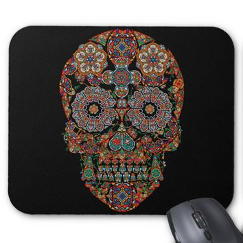 Flower Sugar Skull Mouse Pad