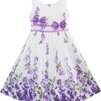 Sunny Fashion Girls Dress Purple Rose Flower Double Bow Tie Party Kids Sundress = 1932752068