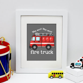 fire truck art print, rescue vehicles decor, baby boy art print, boy bedroom decor, firetruck poster, rescue vehicles wall art, kids art